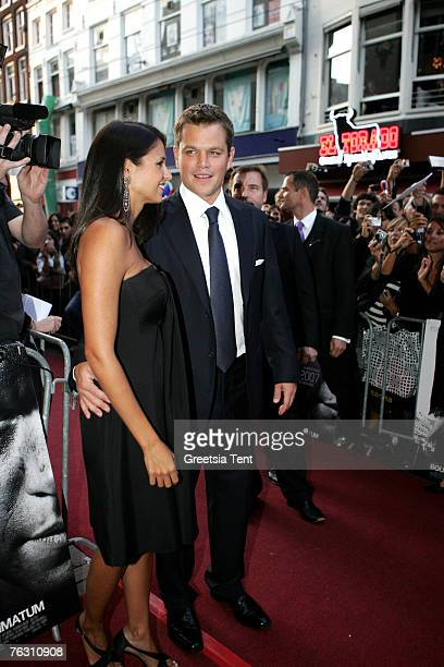 Actor Matt Damon and his wife Luciana Damon at the Netherlands Premiere of The Bourne Ultimatum at the Tuschinski Theatre on August 23 2007 in...
