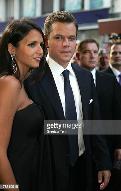 """Actor Matt Damon and his wife Luciana Damon at the Netherlands Premiere of """"The Bourne Ultimatum"""" at the Tuschinski Theatre on August 23, 2007 in..."""