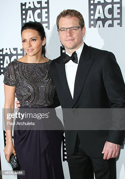 Actor Matt Damon (R) and his Wife Luciana Damon (L) attend the 65th annual ACE Eddie Awards at The Beverly Hilton Hotel on January 30, 2015 in Beverly Hills, California.