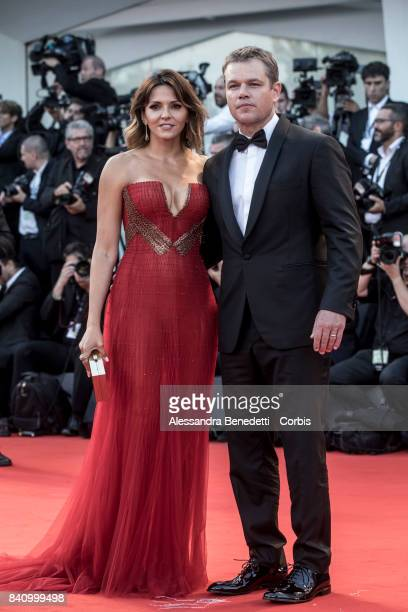 US actor Matt Damon and his wife Luciana Damon walk the red carpet ahead of the 'Downsizing' screening and Opening Ceremony during the 74th Venice...