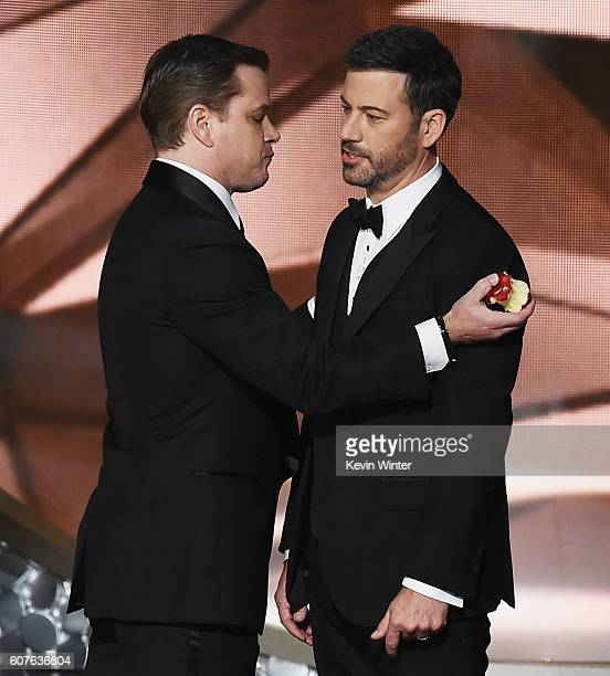 Actor Matt Damon and host Jimmy Kimmel speak onstage during the 68th Annual Primetime Emmy Awards at Microsoft Theater on September 18 2016 in Los...