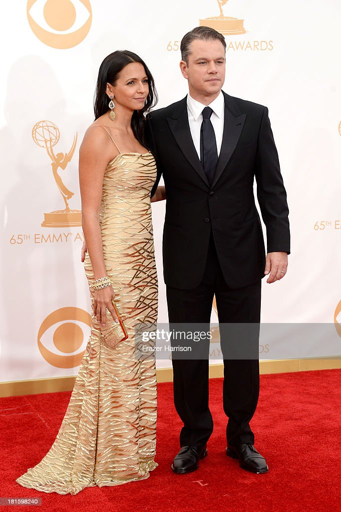 Actor Matt Damon (R) and Luciana Damon arrive at the 65th Annual Primetime Emmy Awards held at Nokia Theatre L.A. Live on September 22, 2013 in Los Angeles, California.