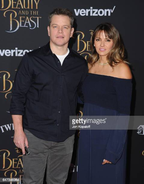 Actor Matt Damon and Luciana Damon arrive at the Los Angeles Premiere 'Beauty And The Beast' at El Capitan Theatre on March 2 2017 in Los Angeles...