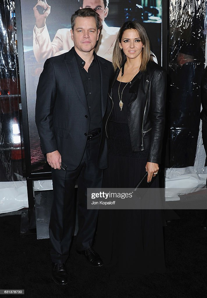Actor Matt Damon and Luciana Damon arrive at the Premiere of 'Live By Night' at TCL Chinese Theatre on January 9, 2017 in Hollywood, California.