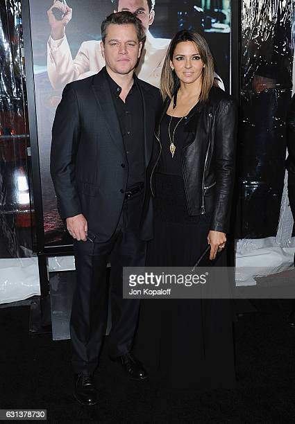 Actor Matt Damon and Luciana Damon arrive at the Premiere of Live By Night at TCL Chinese Theatre on January 9 2017 in Hollywood California