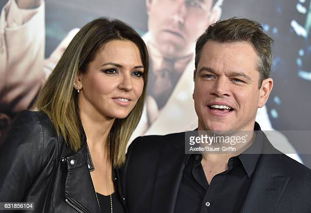 Actor Matt Damon and Luciana Damon arrive at the Premiere of 'Live By Night' at TCL Chinese Theatre on January 9 2017 in Hollywood California