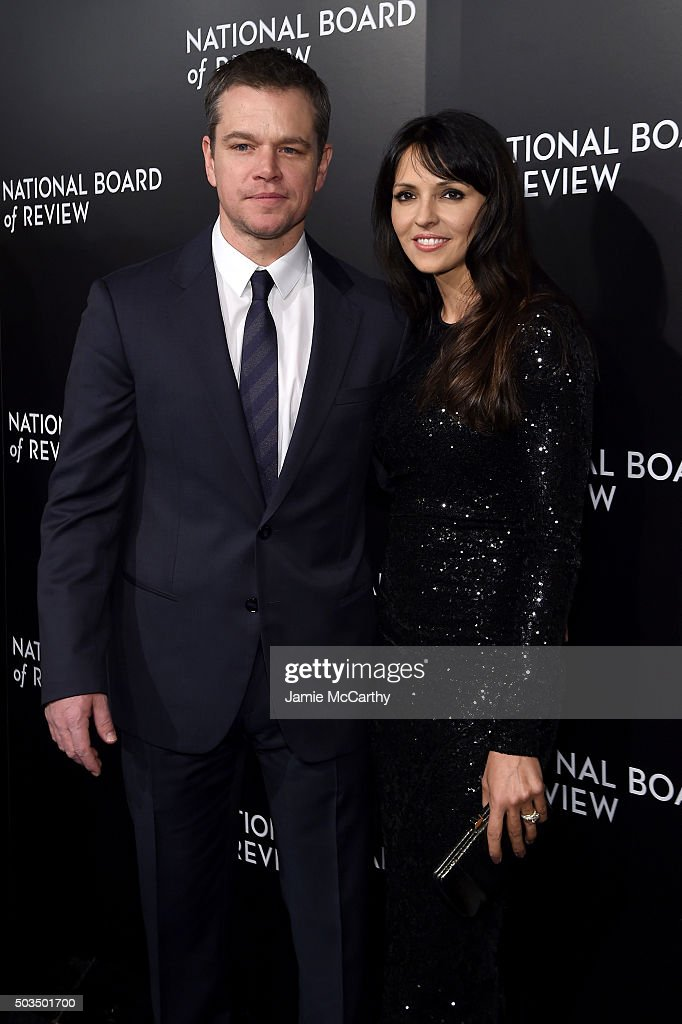 Actor Matt Damon and Luciana Damon attend 2015 National Board of Review Gala at Cipriani 42nd Street on January 5, 2016 in New York City.