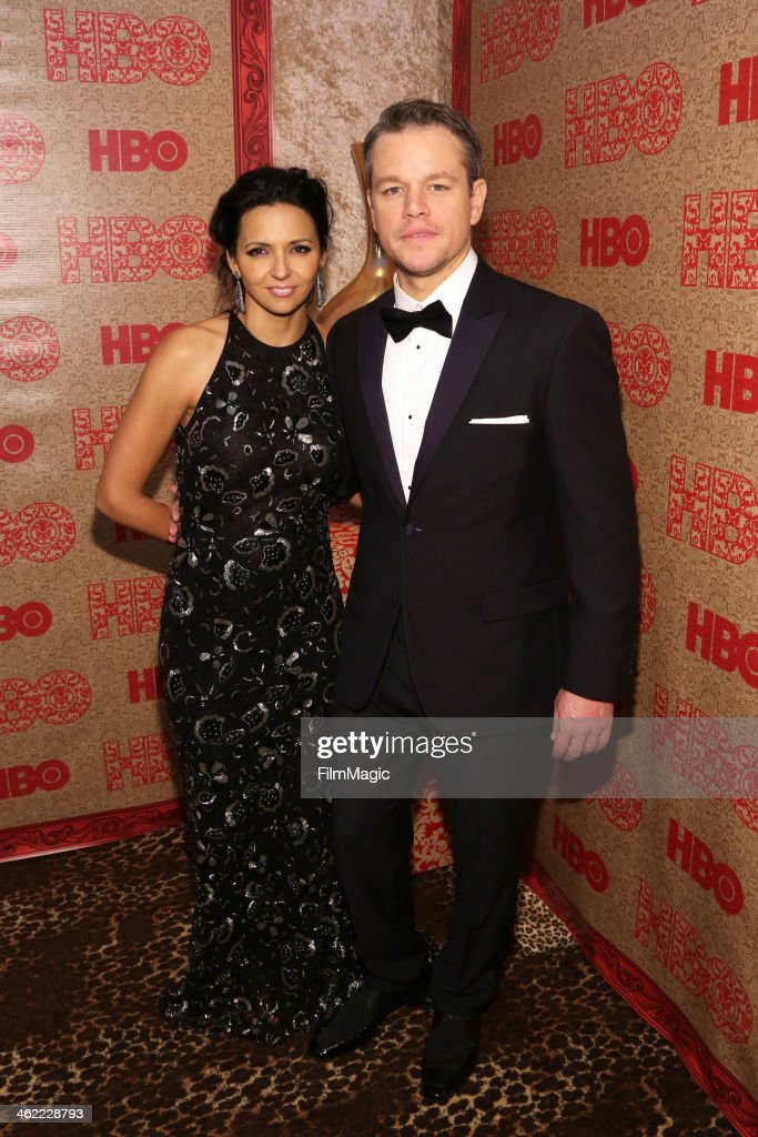 Actor Matt Damon (R) and Luciana Damon attend HBO's Official Golden Globe Awards After Party at The Beverly Hilton Hotel on January 12, 2014 in Beverly Hills, California.