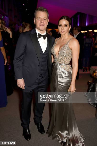 Actor Matt Damon and Luciana Damon attend the 2017 Vanity Fair Oscar Party hosted by Graydon Carter at Wallis Annenberg Center for the Performing...