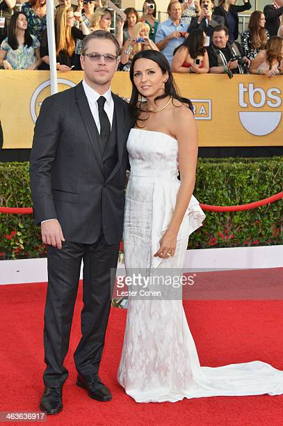 Actor Matt Damon and Luciana Damon attend the 20th Annual Screen Actors Guild Awards at The Shrine Auditorium on January 18 2014 in Los Angeles...