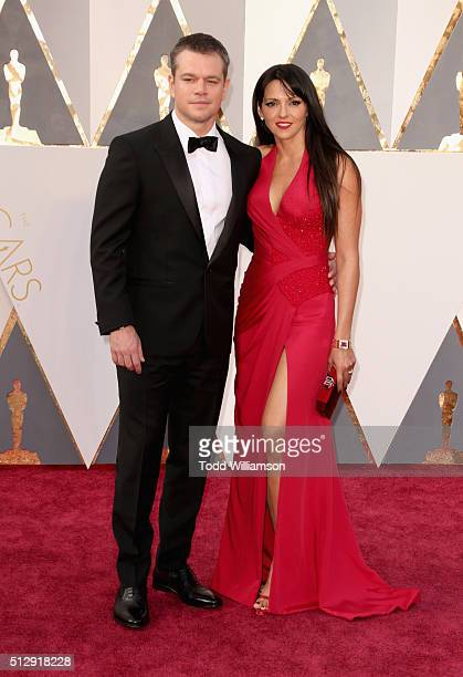 Actor Matt Damon and Luciana Damon attend the 88th Annual Academy Awards at Hollywood Highland Center on February 28 2016 in Hollywood California
