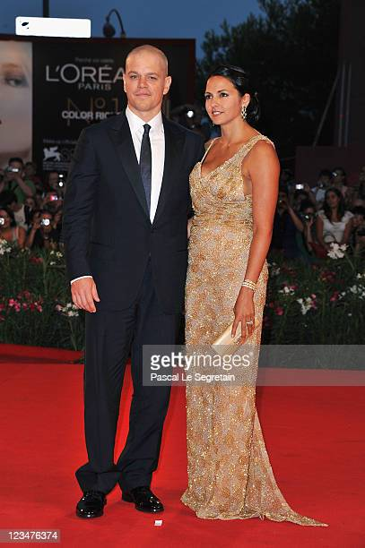 Actor Matt Damon and Luciana Damon attend the Contagion premiere during the 68th Venice Film Festival at Palazzo del Cinema on September 3 2011 in...