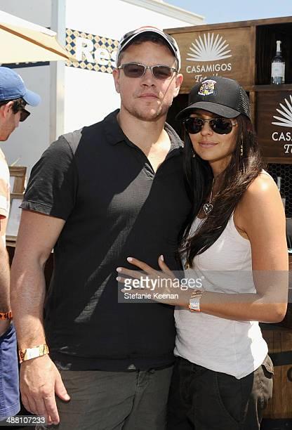 Actor Matt Damon and Luciana Damon attend The Horsemen Flight Team Event Hosted By Dan Friedkin And Lauren Sanchez Whitesell sponsored by Casamigos...