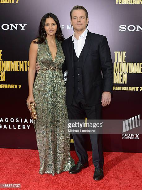 Actor Matt Damon and Luciana Damon attend The Monuments Men premiere at Ziegfeld Theater on February 4 2014 in New York City New York