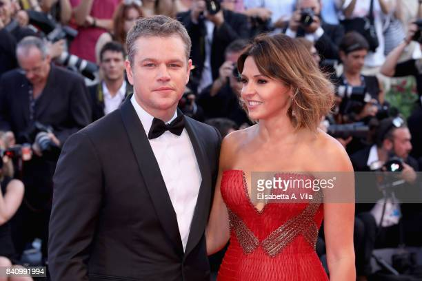 Actor Matt Damon and Luciana Damon attend the Opening Night Screening and World Premiere of 'Downsizing' during the 74th Venice Film Festival at...