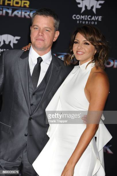 Actor Matt Damon and Luciana Damon attend the premiere of Disney and Marvel's Thor Ragnarok on October 10 2017 at the El Capitan Theater in Hollywood...