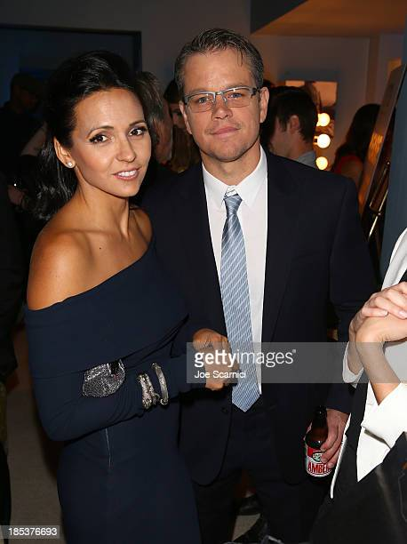 Actor Matt Damon and Luciana Damon attends the 23rd Annual Environmental Media Awards presented by Toyota and Lexus at Warner Bros Studios on October...