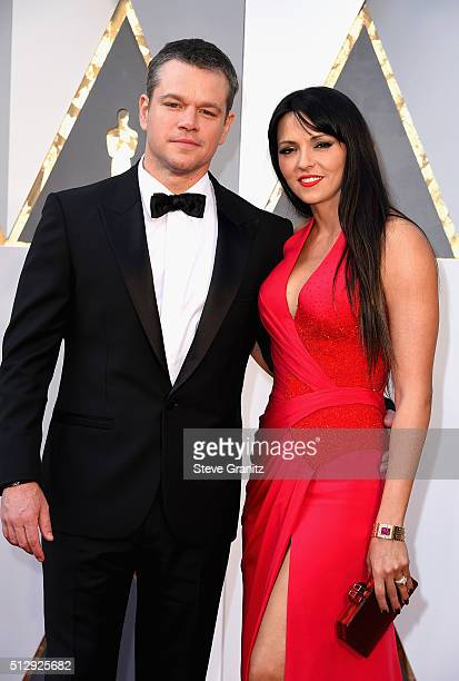 Actor Matt Damon and Luciana Damon attends the 88th Annual Academy Awards at Hollywood & Highland Center on February 28, 2016 in Hollywood,...