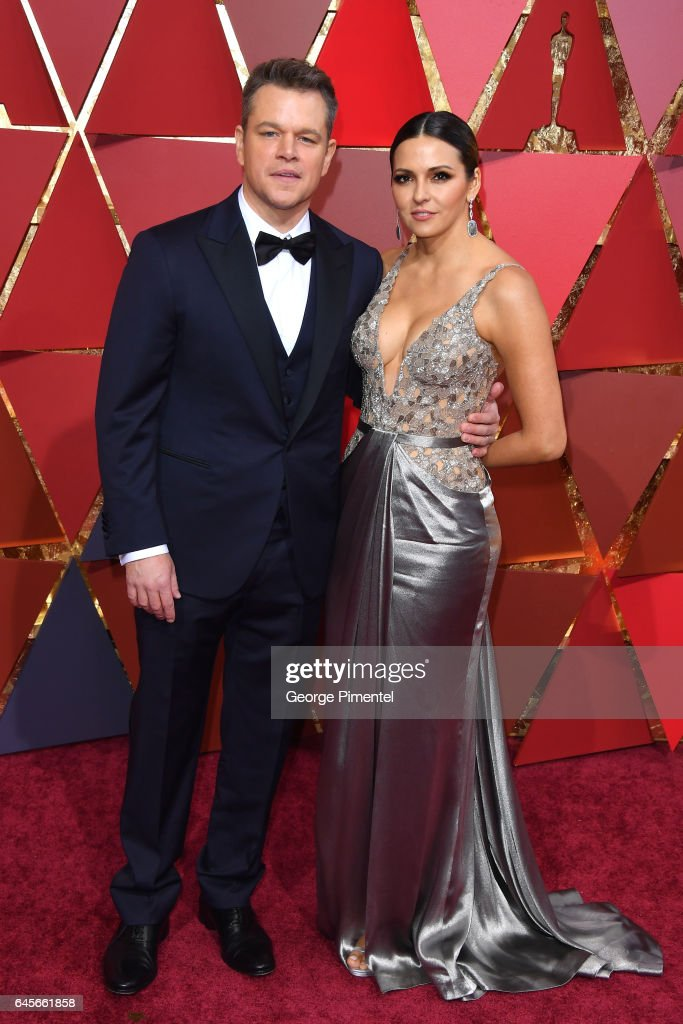 Actor Matt Damon (L) and Luciana Damon attends the 89th Annual Academy Awards at Hollywood & Highland Center on February 26, 2017 in Hollywood, California.