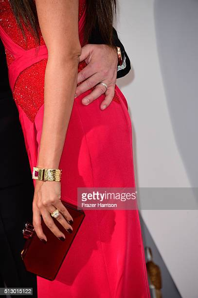 Actor Matt Damon and Luciana Damon fashion detail attend the 88th Annual Academy Awards at Hollywood Highland Center on February 28 2016 in Hollywood...