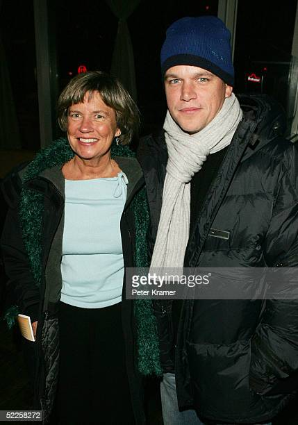 """Actor Matt Damon and mom Nancy Damon attend the after party for the opening night of """"After Ashley"""" on February 28, 2005 in New York City."""