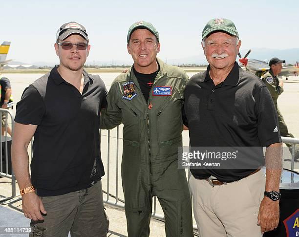 Actor Matt Damon and pilots Dan Friedkin and Tom Friedkin attend The Horsemen Flight Team Event Hosted By Dan Friedkin And Lauren Sanchez Whitesell...