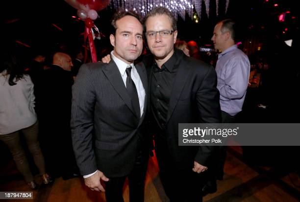Actor Matt Damon and Stand Up For Gus founder Jason Patric attend the Stand Up For Gus Benefit at Bootsy Bellows on November 13 2013 in West...