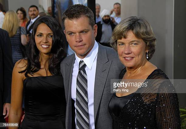 Actor Matt Damon and wife Luciana Damon and his mom arrives to the Los Angeles Premiere of The Bourne Ultimatum at the Arclight Theater on July 25...