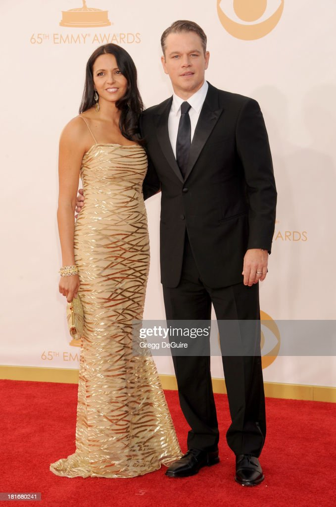 Actor Matt Damon and wife Luciana Damon arrive at the 65th Annual Primetime Emmy Awards at Nokia Theatre L.A. Live on September 22, 2013 in Los Angeles, California.