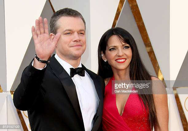 Actor Matt Damon and wife Luciana Damon arrive at the 88th Annual Academy Awards at Hollywood Highland Center on February 28 2016 in Hollywood...