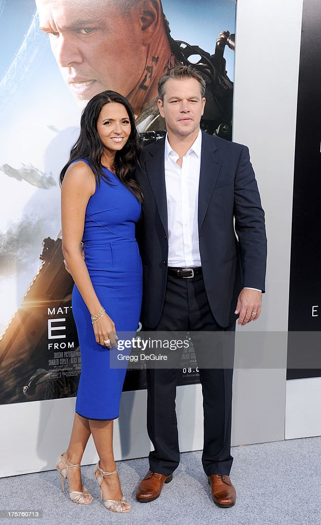 Actor Matt Damon and wife Luciana Damon arrive at the Los Angeles premiere of 'Elysium' at Regency Village Theatre on August 7, 2013 in Westwood, California.