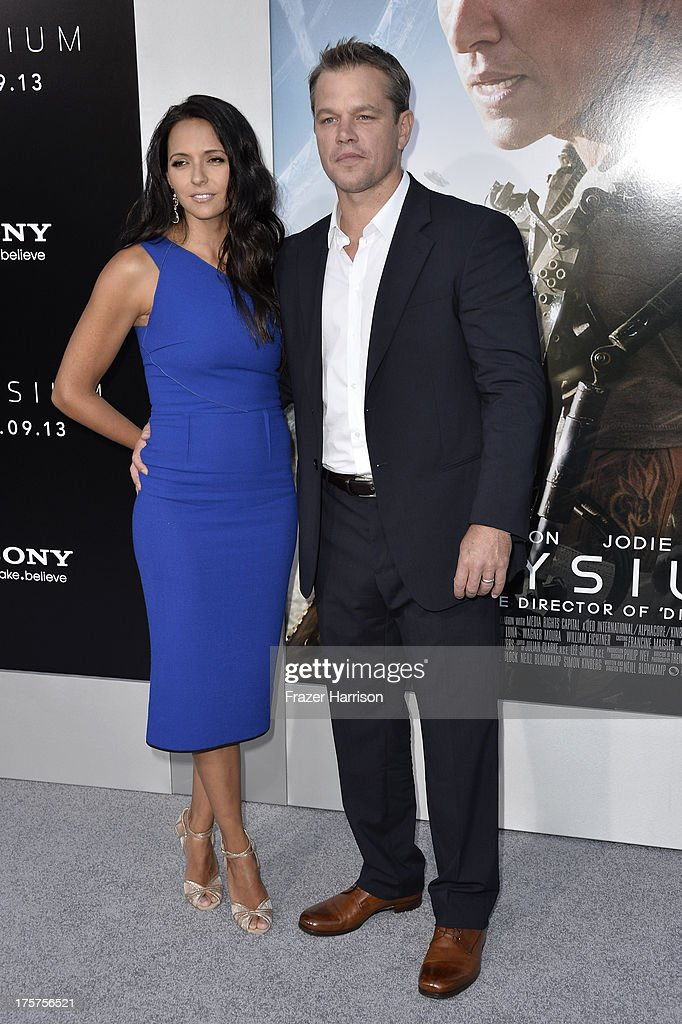 Actor Matt Damon and wife Luciana Damon arrive at the premiere of TriStar Pictures' 'Elysium' at Regency Village Theatre on August 7, 2013 in Westwood, California.