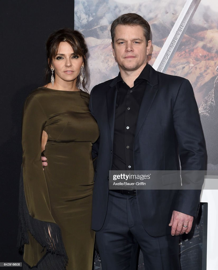 Actor Matt Damon and wife Luciana Damon arrive at the premiere of Universal Pictures' 'The Great Wall' at TCL Chinese Theatre IMAX on February 15, 2017 in Hollywood, California.