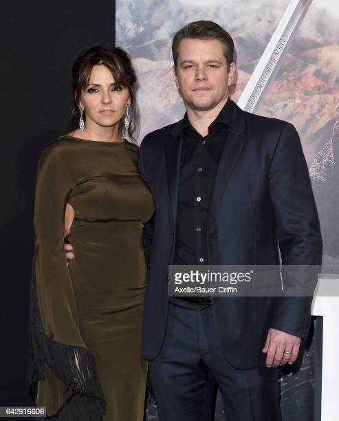 Actor Matt Damon and wife Luciana Damon arrive at the premiere of Universal Pictures' 'The Great Wall' at TCL Chinese Theatre IMAX on February 15...