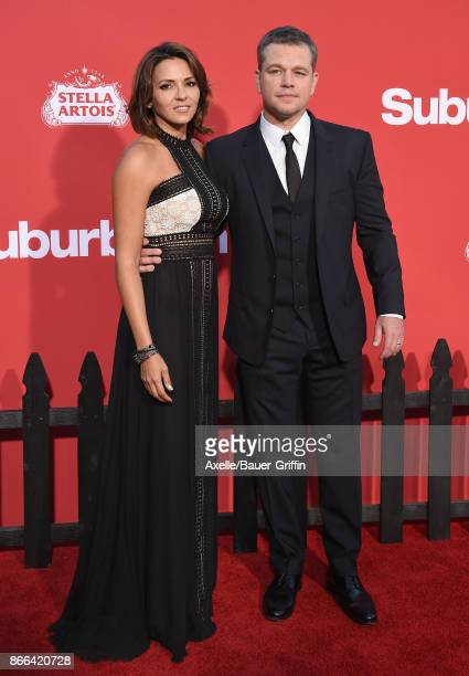 Actor Matt Damon and wife Luciana Damon arrive at the premiere of Paramount Pictures' 'Suburbicon' at Regency Village Theatre on October 22 2017 in...