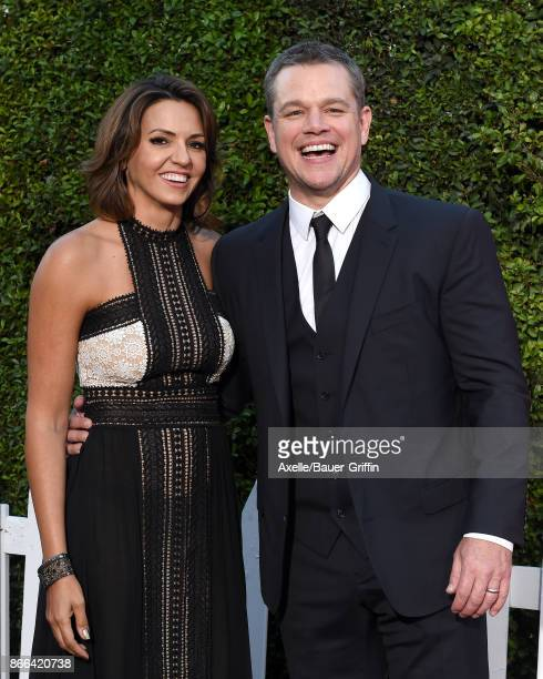 Actor Matt Damon and wife Luciana Damon arrive at the premiere of Paramount Pictures' 'Suburbicon' at Regency Village Theatre on October 22, 2017 in...