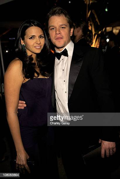 Actor Matt Damon and wife Luciana Damon arrive at The Weinstein Company and Relativity Media's 2011 Golden Globe After Party presented by Marie...