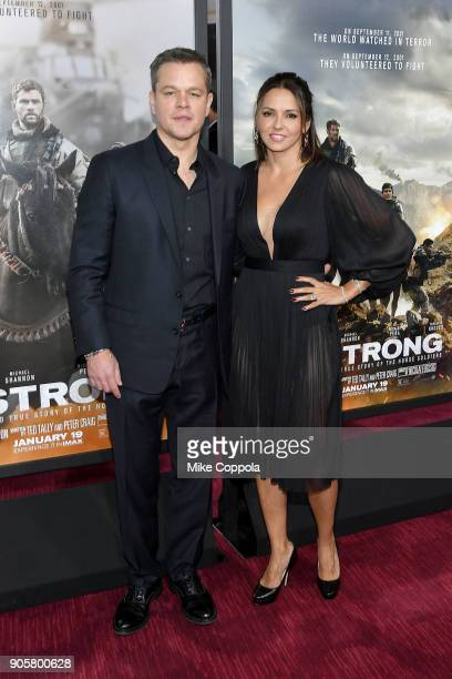 Actor Matt Damon and wife Luciana Damon attend the '12 Strong' World Premiere at Jazz at Lincoln Center on January 16 2018 in New York City