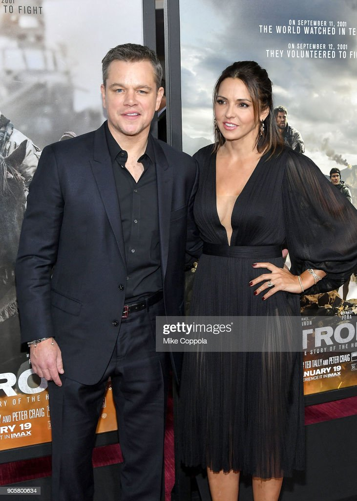 Actor Matt Damon (L) and wife Luciana Damon attend the '12 Strong' World Premiere at Jazz at Lincoln Center on January 16, 2018 in New York City.