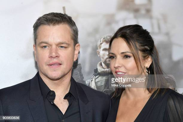 "Actor Matt Damon and wife Luciana Damon attend the ""12 Strong"" World Premiere at Jazz at Lincoln Center on January 16, 2018 in New York City."