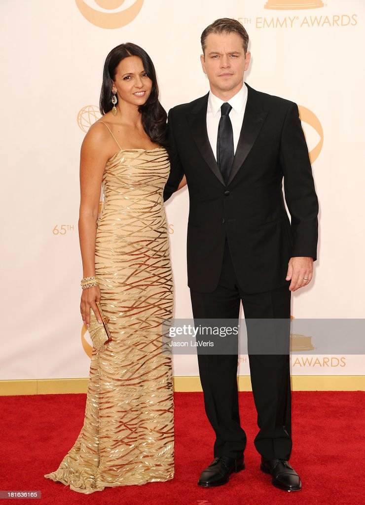 Actor Matt Damon (R) and wife Luciana Damon attend the 65th annual Primetime Emmy Awards at Nokia Theatre L.A. Live on September 22, 2013 in Los Angeles, California.