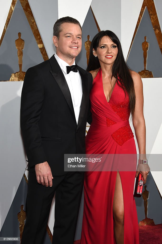 Actor Matt Damon and wife Luciana Damon attend the 88th Annual Academy Awards at Hollywood & Highland Center on February 28, 2016 in Hollywood, California.