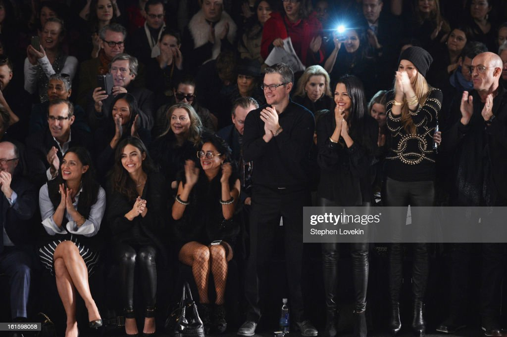 Actor Matt Damon and wife Luciana Damon attend the Naeem Khan Fall 2013 fashion show during Mercedes-Benz Fashion Week at The Theatre at Lincoln Center on February 12, 2013 in New York City.