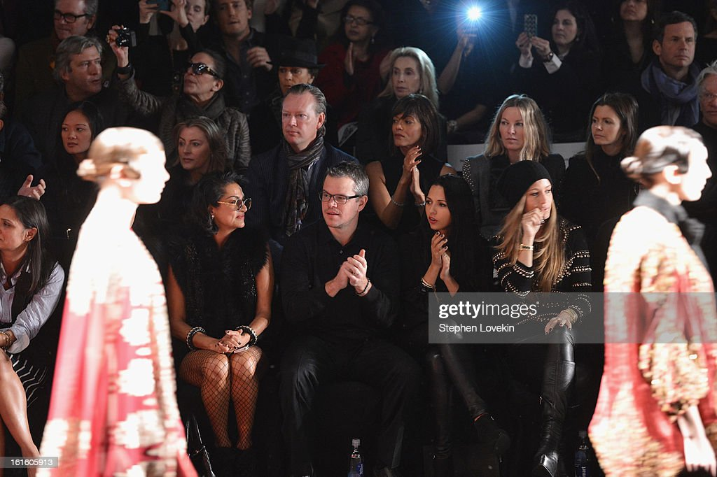 Actor Matt Damon (2nd L) and wife Luciana Damon (2nd R) attend the Naeem Khan Fall 2013 fashion show during Mercedes-Benz Fashion Week at The Theatre at Lincoln Center on February 12, 2013 in New York City.