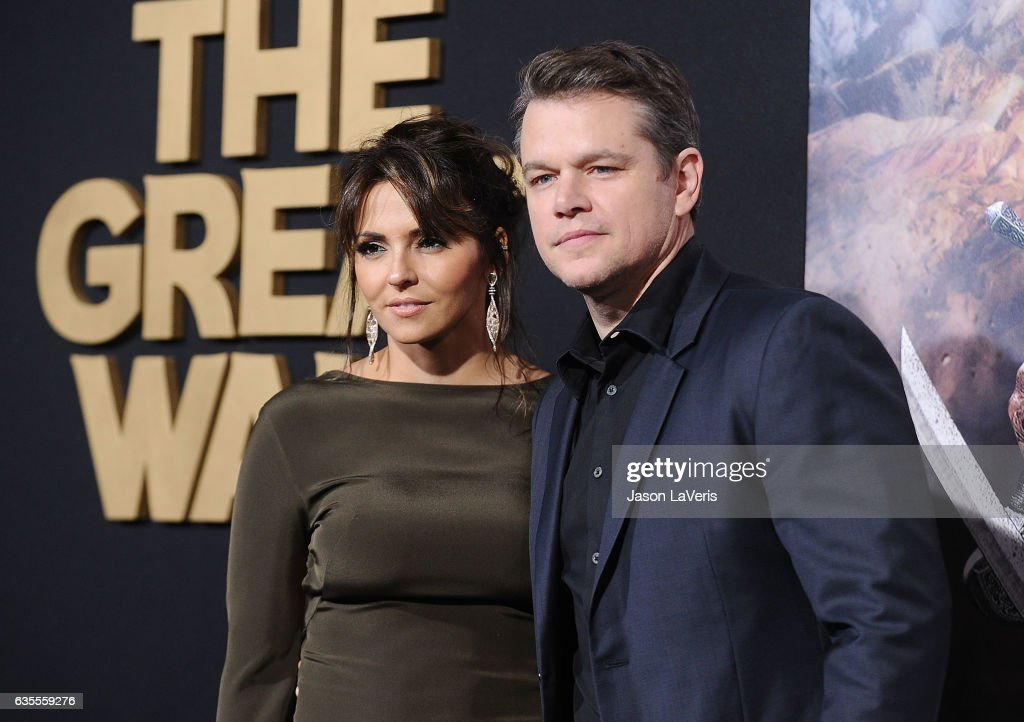 Actor Matt Damon (R) and wife Luciana Damon attend the premiere of 'The Great Wall' at TCL Chinese Theatre IMAX on February 15, 2017 in Hollywood, California.