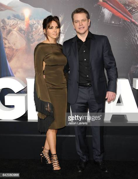 Actor Matt Damon and wife Luciana Damon attend the premiere of 'The Great Wall' at TCL Chinese Theatre IMAX on February 15 2017 in Hollywood...