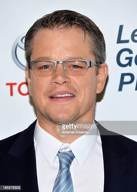 Actor Matt Damon arrives at the 2013 Environmental Media Awards at Warner Bros Studios on October 19 2013 in Burbank California
