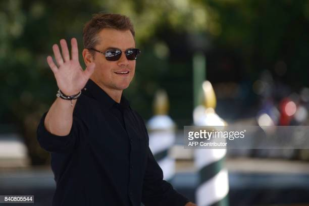 US actor Matt Damon arrives at the Excelsior Hotel during the 74th Venice Film Festival on August 30 2017 at Venice Lido Matt Damon arrived in Venice...