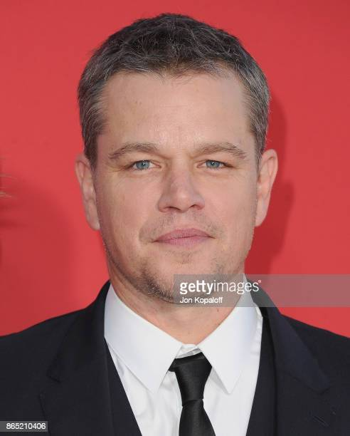 "Actor Matt Damon arrives at the Los Angeles Premiere ""Suburbicon"" at Regency Village Theatre on October 22, 2017 in Westwood, California."