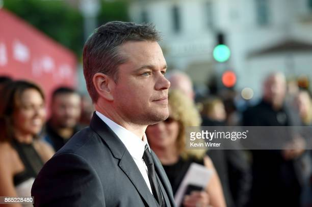 Actor Matt Damon arrives at the premiere of Paramount Pictures' 'Suburbicon' at the Village Theatre on October 22 2017 in Los Angeles California
